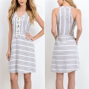 Doe & Rae Striped Lace Up Summer Dress Size S